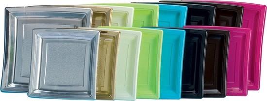 Assiette plastique carré 18cm de couleur