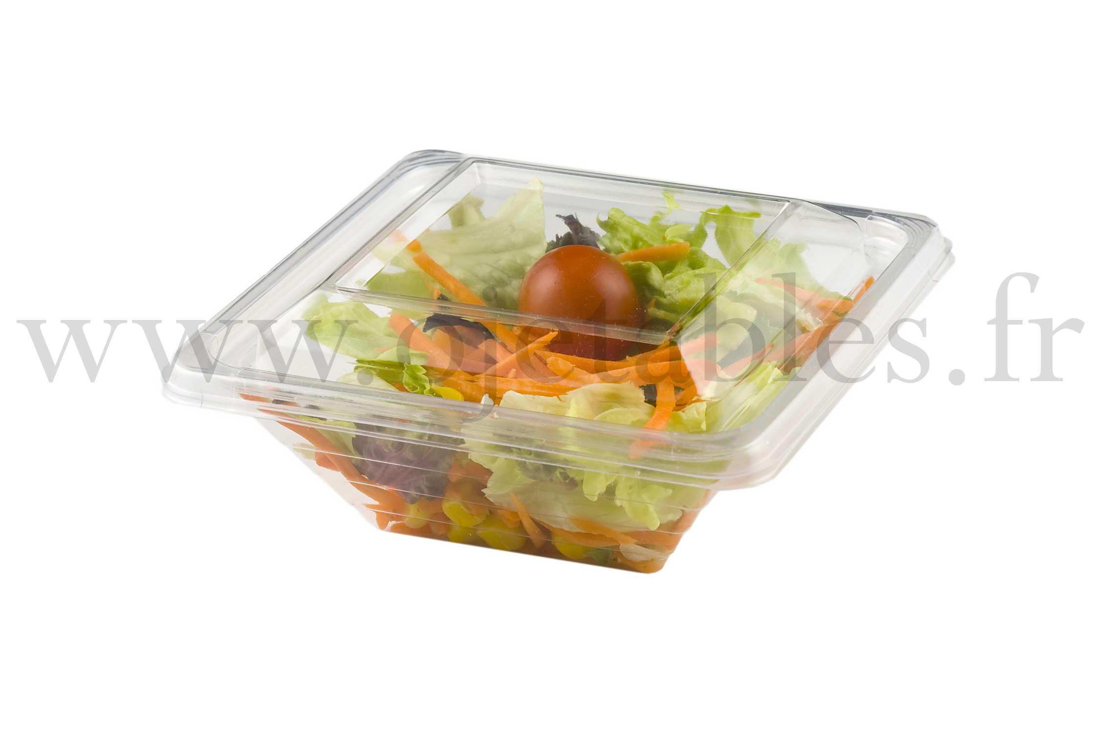 Barquette salade Pyramipack cristal 250ml + couvercle