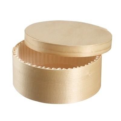 Boite en bois ronde avec caissette 45cl et couvercle