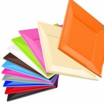 Assiettes couleurs carrée réutilisable Festiline 18.5cm