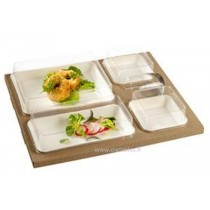 50 Kits Plateau repas biodégradable kraft kanopée avec assiettes blanches