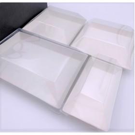 Kit 4 assiettes cubik Fibra biodegradable + couvercles